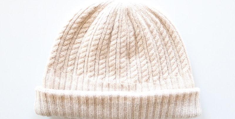 mature ha. long rib knit cap tiny rope lamb -LIGHT BEIGE-