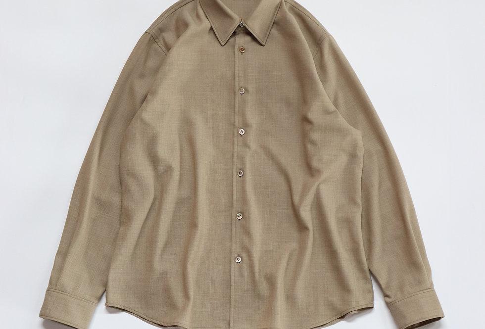 山内 ノーミュールシングメッシュウールシャツ sand beige