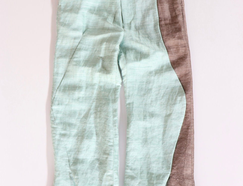amachi. Contour Line Flare Pants -GREEN(Brown Line)-