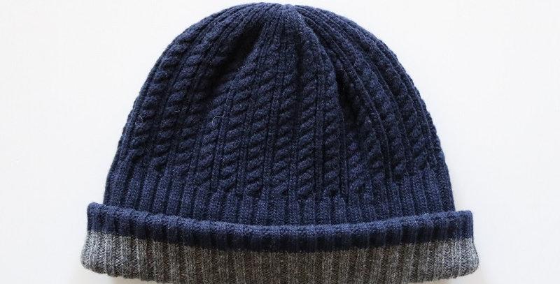 mature ha. long rib knit cap tiny rope lamb -NAVY-