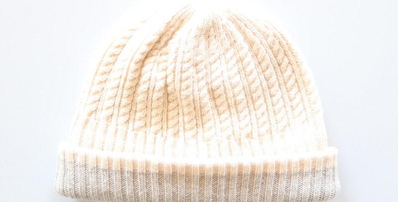 mature ha. long rib knit cap tiny rope lamb -OFF WHITE-