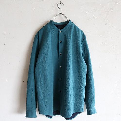 山内 有松塩縮加工リネンシャツ -CYAN-