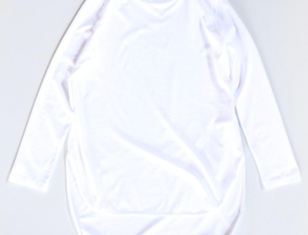 ATON SUVIN60/2 LONGSLEEVE ROUNDED HEM WHITE