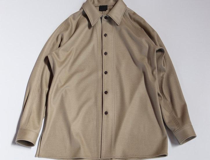 山内 圧縮ウール ニットシャツ beige