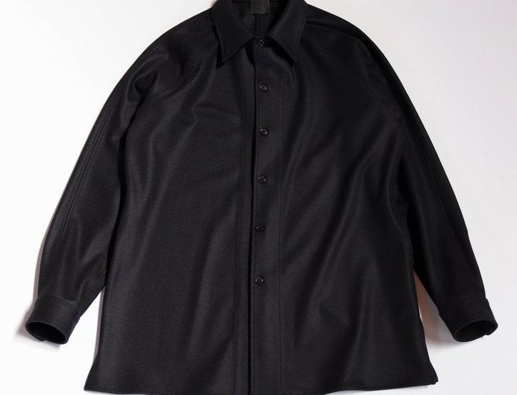 山内 圧縮ウール ニットシャツ black