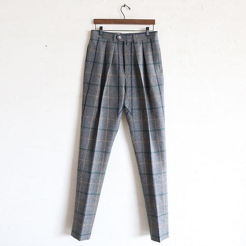 NEAT Wool Plaid Tapaerd -GRAY-