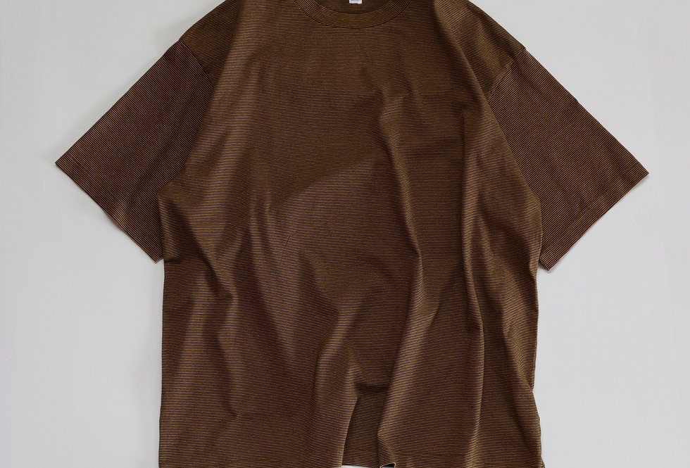 ETS.MATERIAUX ETS.Micro border T-shirts BROWN