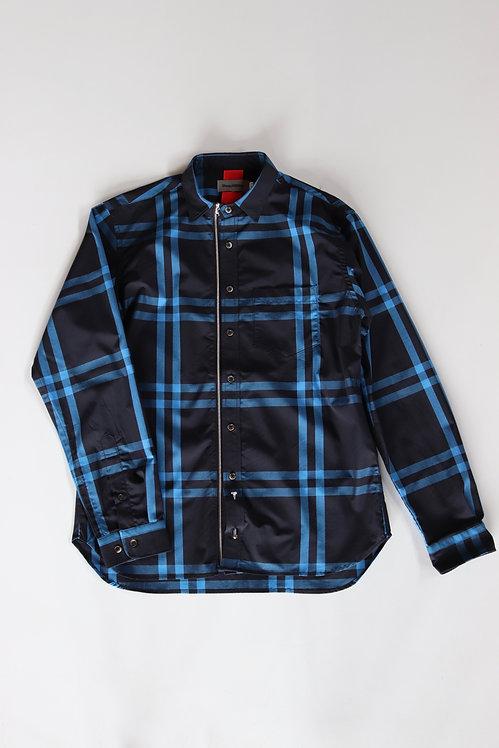 Beautilities Utility Zip Shirt -Black×Blue-Big Check-