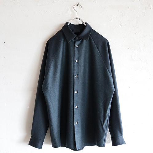 山内 ノーミュールシング・ウールシャツ -NAVY-