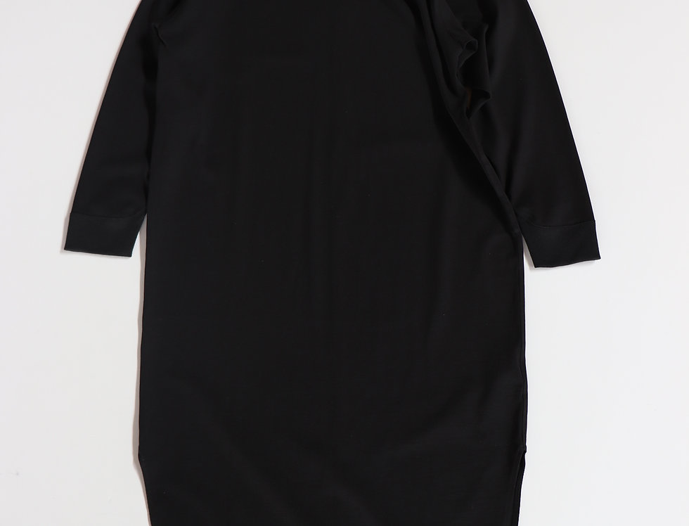 ATON SUVIN AIR SPINNING ROUNDED HEM DRESS BLACK