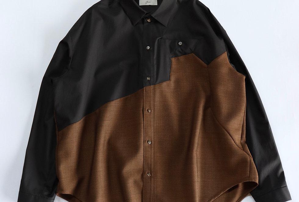 amachi. Sculpture Line Shirt Brown×Black
