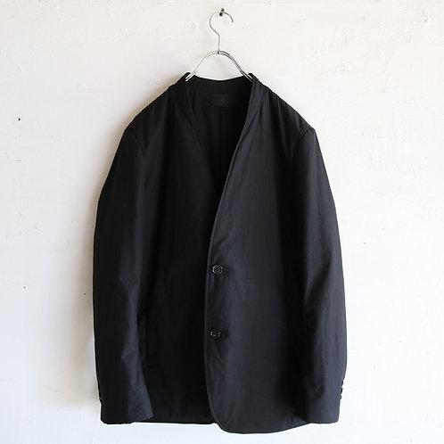 山内 中綿ハイブリッドコットンノーカラージャケット -BLACK-