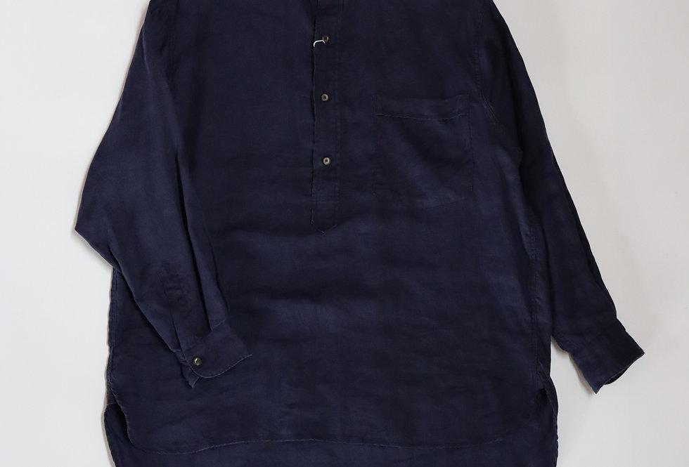 COMOLI リネンWクロス プルオーバーシャツ FRENCH NAVY