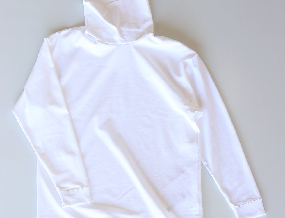 ATON SUVIN AIR SPINNING HIGH NECK PULLOVER WHITE