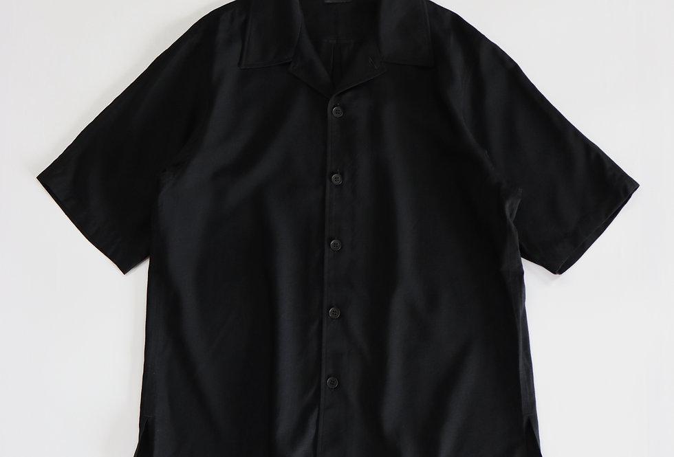 山内 レーヨンシルクキュプラ・ショートスリーブシャツ black