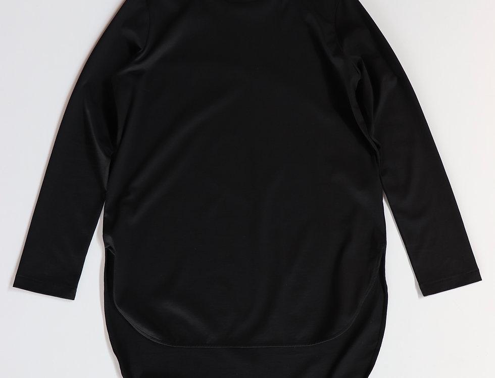 ATON SUVIN60/2 LONGSLEEVE ROUNDED HEM BLACK