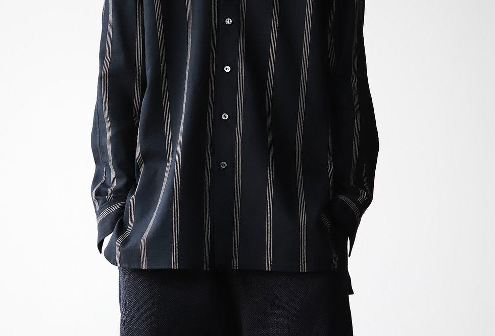 山内 コットンキュプラ・ストライプシャツ black