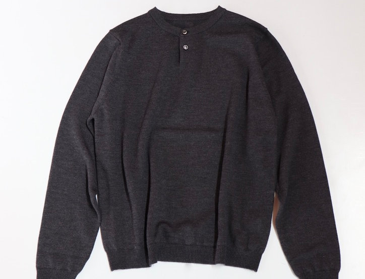 un/unbient POLO COLLAR KNIT CHARCOAL GRAY