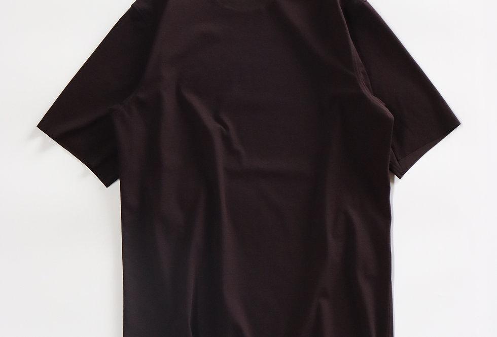山内  フリーカット強撚ポンチ・Tシャツ bordeaux