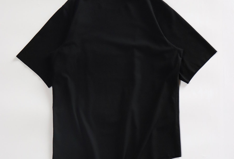 山内  フリーカット強撚ポンチ・Tシャツ black