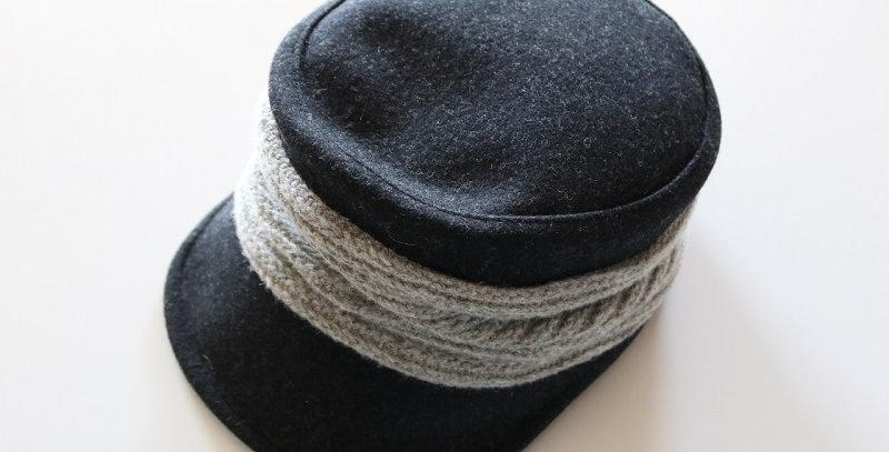 mature ha. melton drape cap -CHARCOAL-