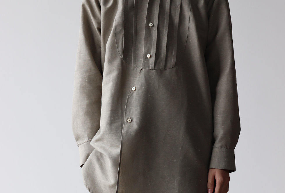 T-MICHAEL BAND COLLAR LONG GRANDPA SHIRT Nikko linen