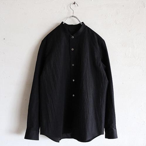 山内 有松塩縮加工リネンシャツ(衿なし) -BLACK-