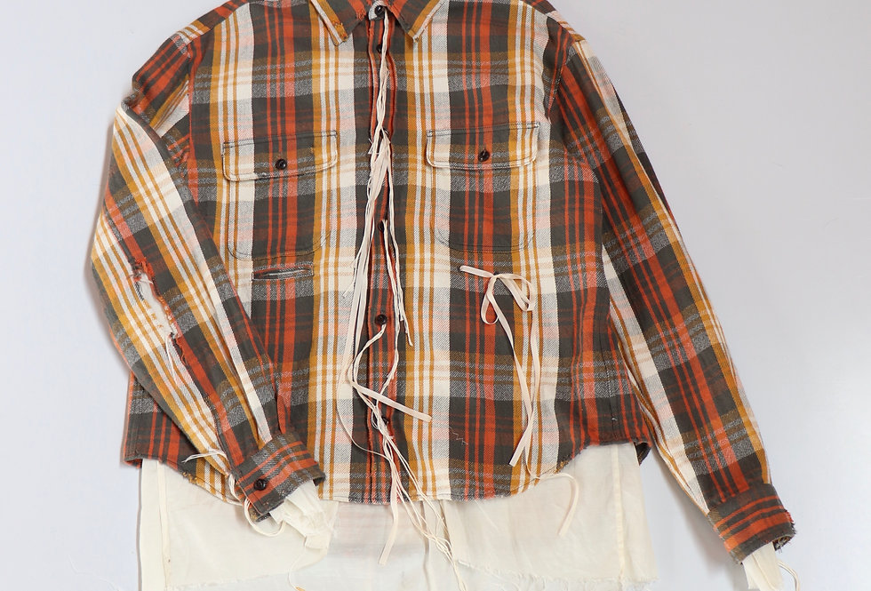 Midorikawa LONG SLEEVE CHECK SHIRT BROWN