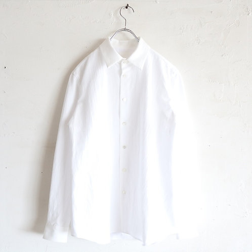 山内 有松塩縮加工リネンシャツ(衿付き) -WHITE-