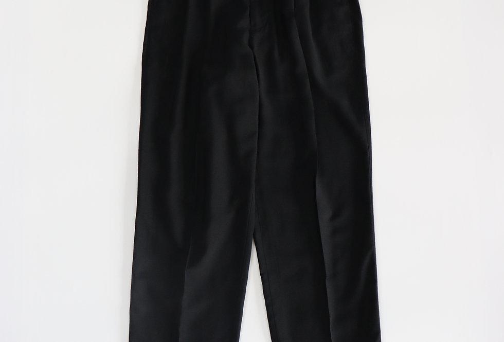 山内 レーヨンシルクキュプラ・ツータックパンツ black