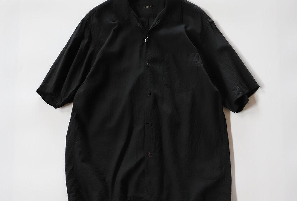 COMOLI ベタシャン オープンカラーシャツ BLACK