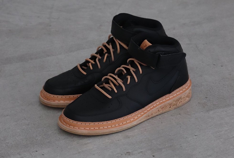 PETERSONSTOOP V1 Nike air force mid black tan leather cork sole straight