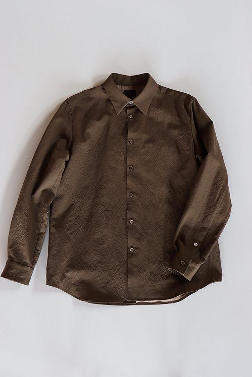 山内 有松塩縮加工リネンシャツ(羽襟付き) -BROWN KHAKI-
