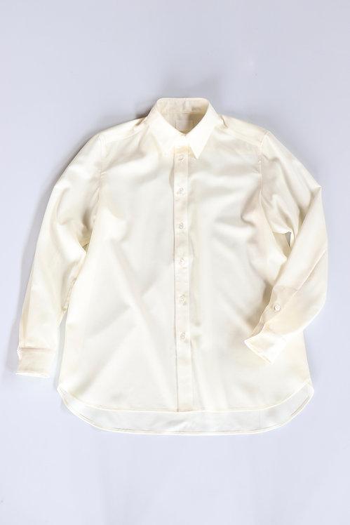山内 ノーミュールシング・シルクウールシャツ -WHITE-