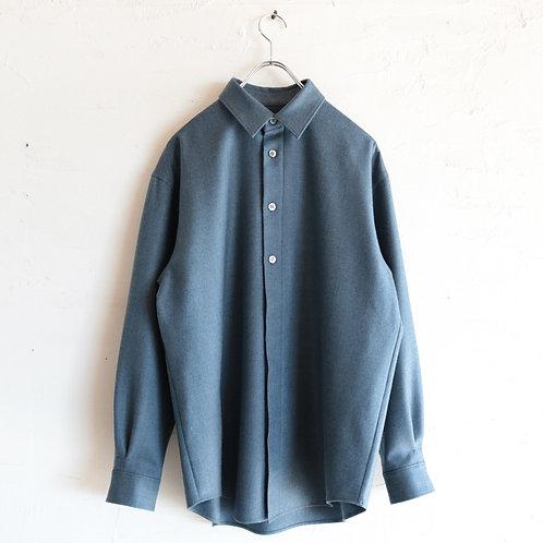 山内 ウールカシミアシャツ -BLUE GRAY-