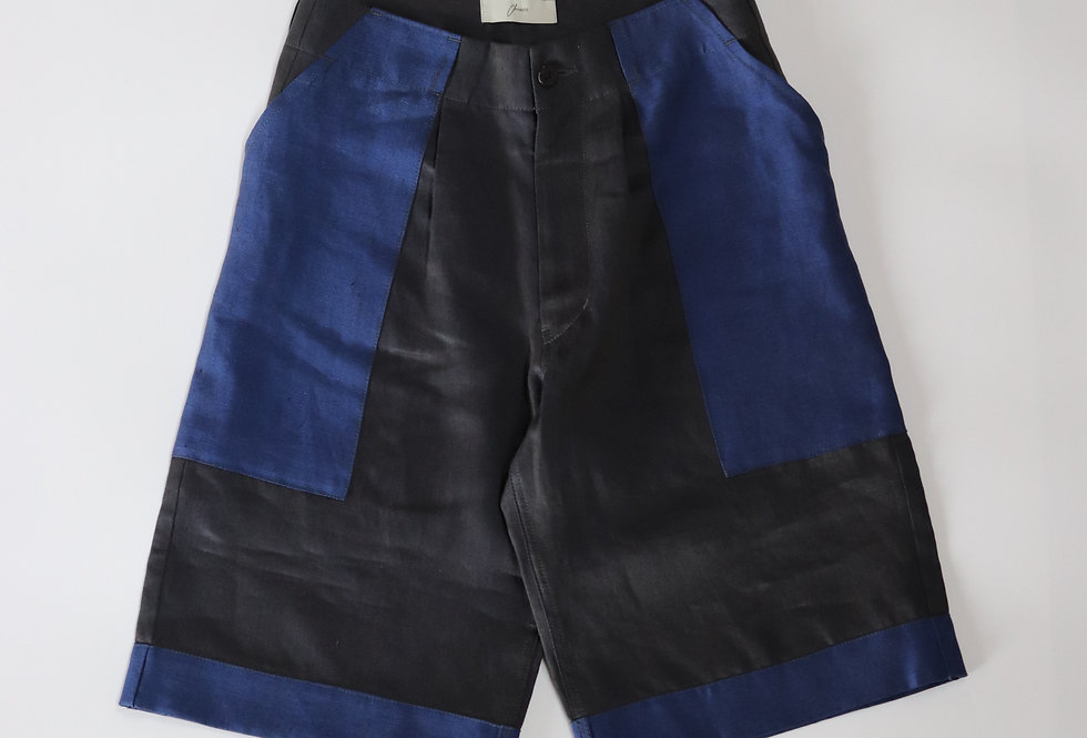 amachi. Panel Denim Shorts Dark Gray × Blue