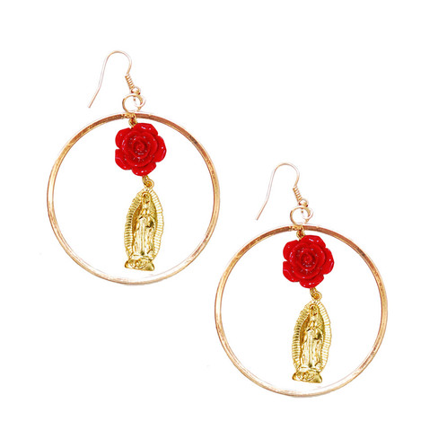 Virgen de Guadalupe Rose Hoop Earrings