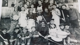 Matzo making with the Berkowitz family and friends, Pesach, 1940.