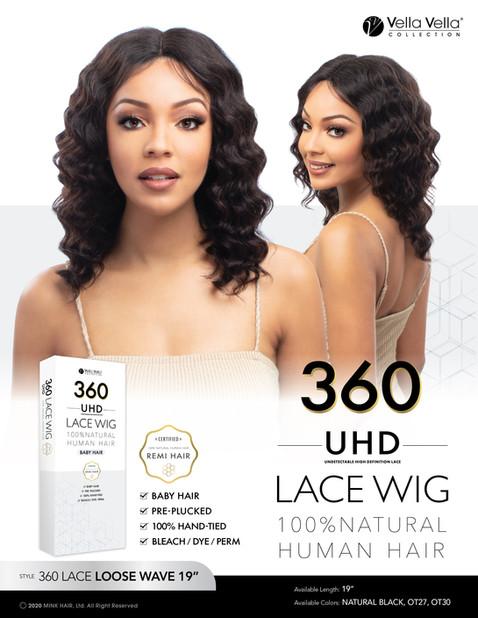 """VELLA VELLA NATURAL HUMAN HAIR 360 LACE - LOOSE WAVE 19"""""""