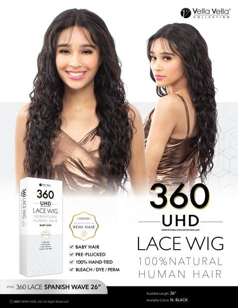 VELLA VELLA NATURAL HUMAN HAIR 360 LACE - SPANISH WAVE 26""