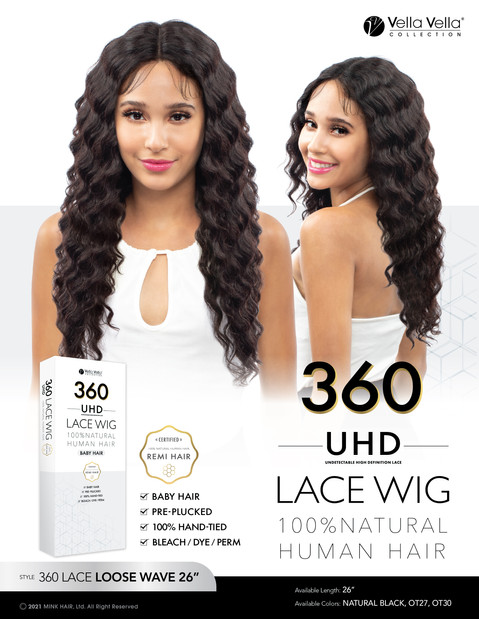 VELLA VELLA NATURAL HUMAN HAIR 360 LACE - LOOSE WAVE 26""