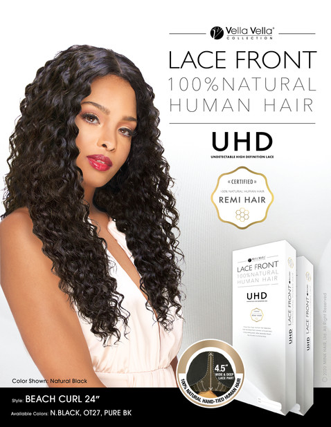 LACE FRONT NATURAL HUMAN HAIR - BEACH CURL 24""