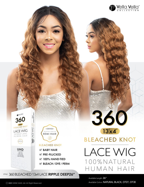 VELLA VELLA NATURAL HUMAN HAIR 360 BLEACHED 13x4 LACE - RIPPLE DEEP 26""