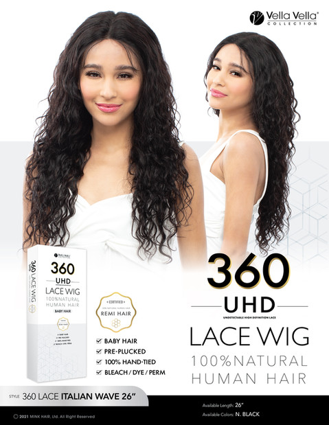 VELLA VELLA NATURAL HUMAN HAIR 360 LACE - ITALIAN WAVE 26""
