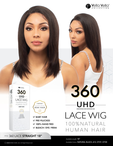 VELLA VELLA NATURAL HUMAN HAIR 360 LACE - STRAIGHT 18""