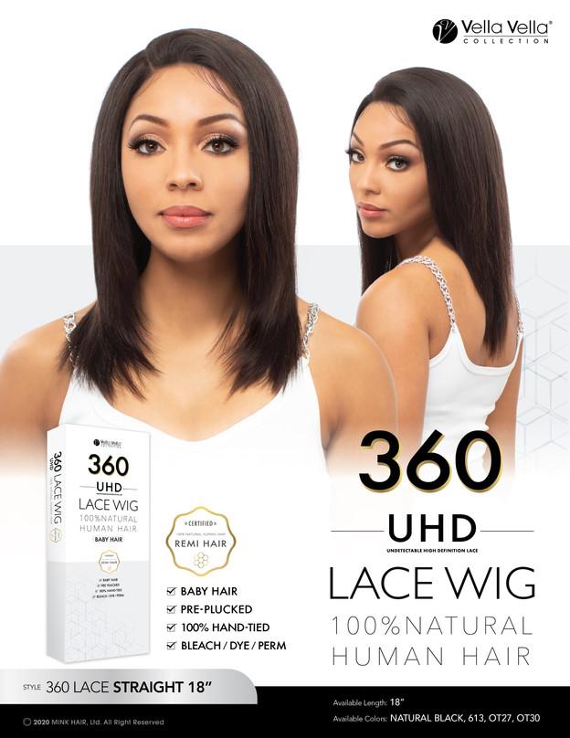 """VELLA VELLA NATURAL HUMAN HAIR 360 LACE - STRAIGHT 18"""""""