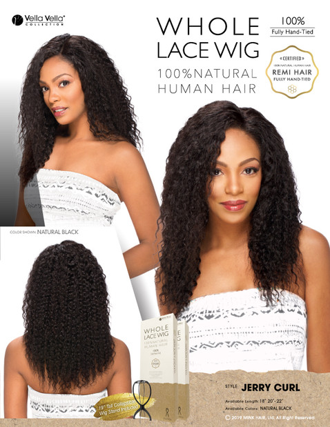 WHOLE LACE NATURAL HAIR WIG - JERRY CURL 18""