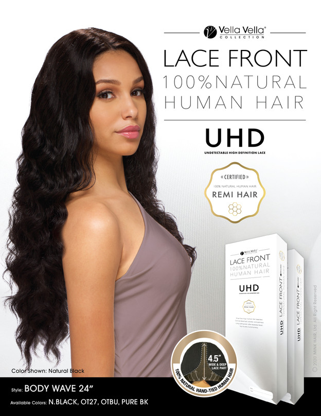 """LACE FRONT NATURAL HUMAN HAIR - BODY WAVE 24"""""""