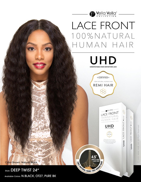 LACE FRONT NATURAL HUMAN HAIR - DEEP TWIST 24""