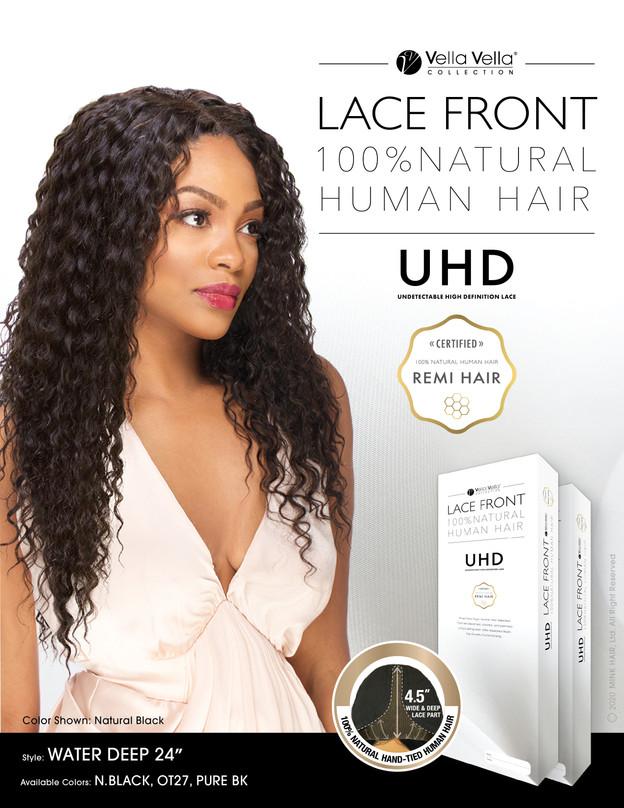 """LACE FRONT NATURAL HUMAN HAIR - WATER DEEP 24"""""""